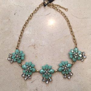 NWT JCrew Aqua & crystal necklace w/gold hardware